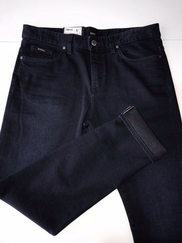 NWT $208 Hugo Boss Mens Delaware3 Slim Fit Cotton Navy Jeans Pants Size 36/34