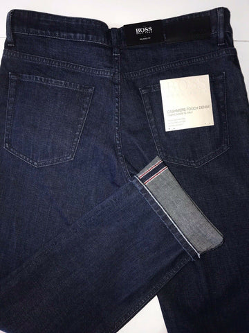 NWT $178 Hugo Boss Men's Albany Relaxed Fit Cotton Navy Denim Jeans Size 30/32