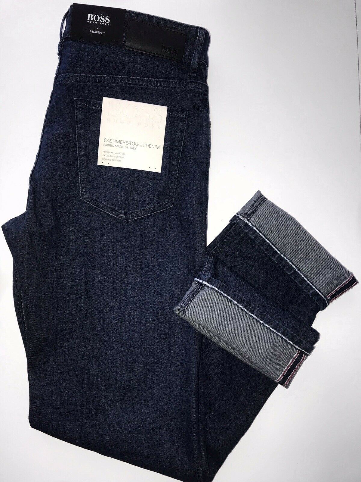 NWT $178 Hugo Boss Men/'s Albany Relaxed Fit Cotton Navy Denim Jeans Size 33//32