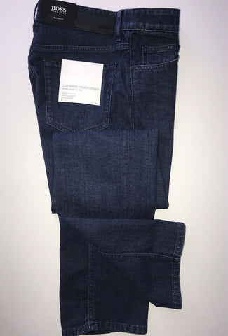 NWT $178 Hugo Boss Men's Albany Relaxed Fit Cotton Navy Denim Jeans Size 33/34