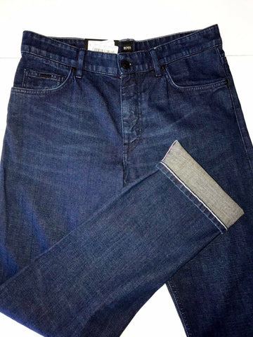 NWT $178 Hugo Boss Men's Albany Relaxed Fit Cotton Navy Denim Jeans Size 34/32