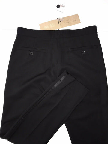 NWT 550 Burberry London Women's Wool Casual Black Pants Size 4 US (38 EU)