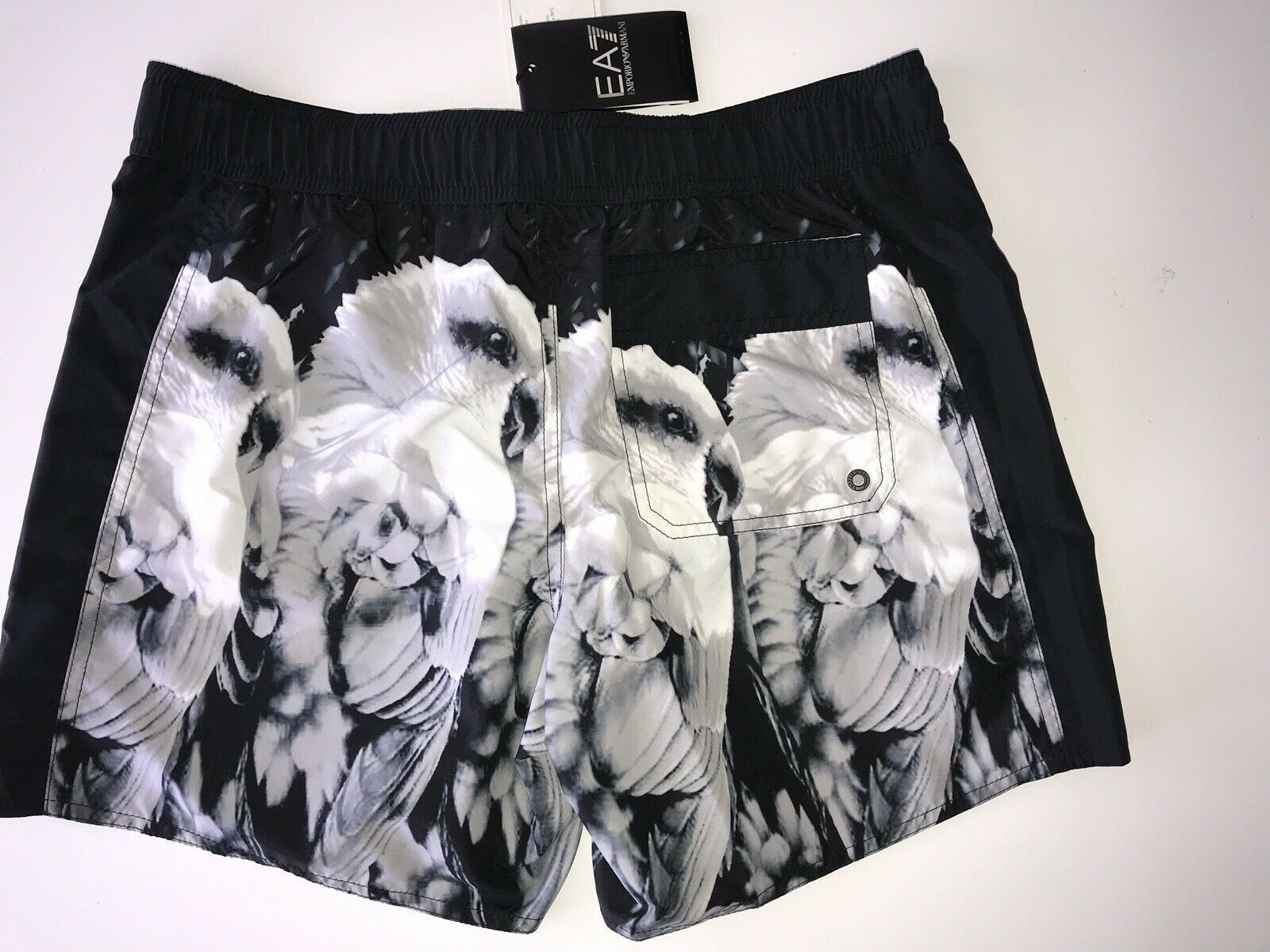 NWT $175 Emporio Armani EA7 Mens Parrots Beach Swim Shorts 48 EU, 32 US (Small)