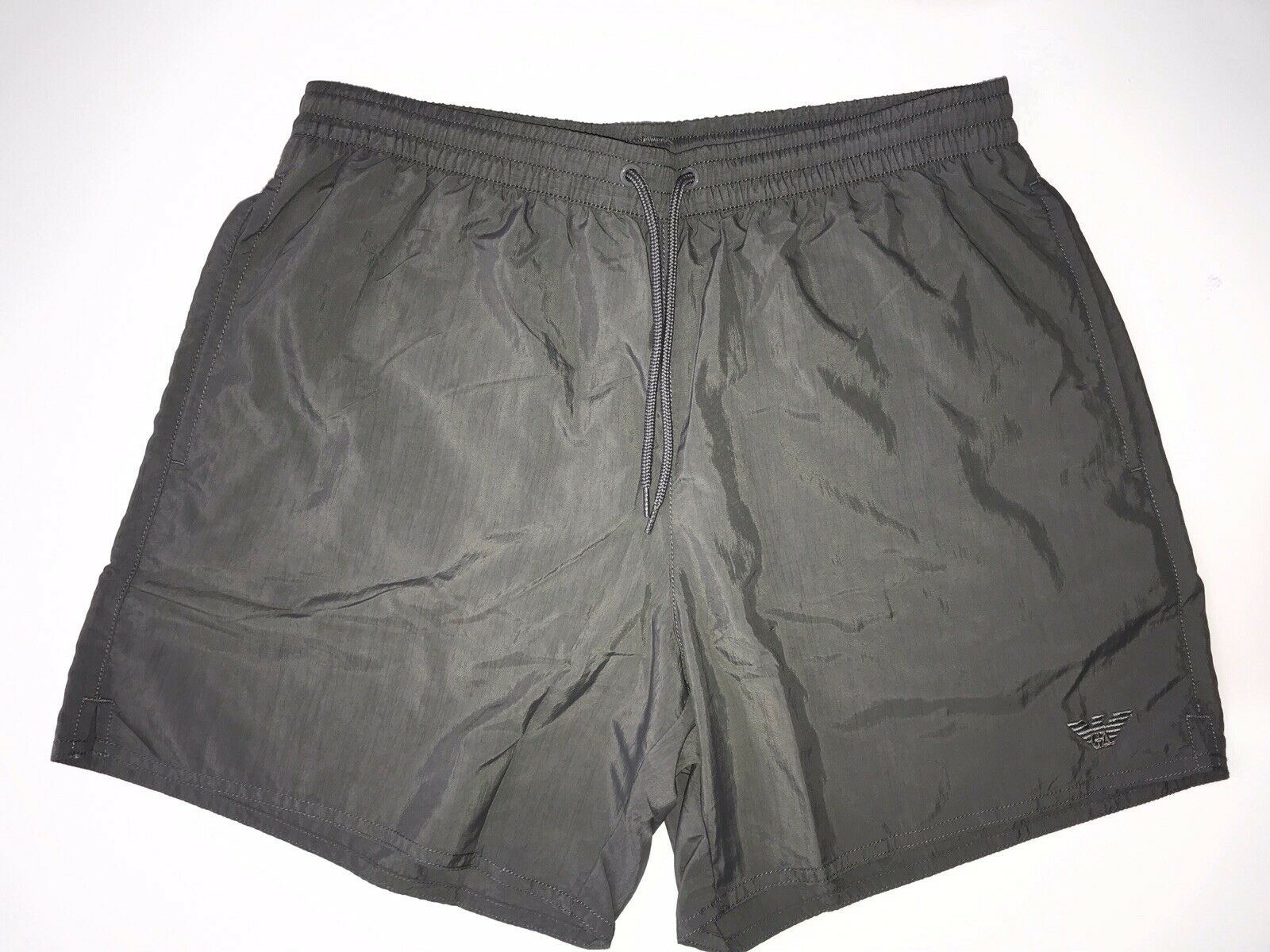 NWT $95 Emporio Armani Men's Gray Swim Logo Shorts Size 48 EU (32 US) Small