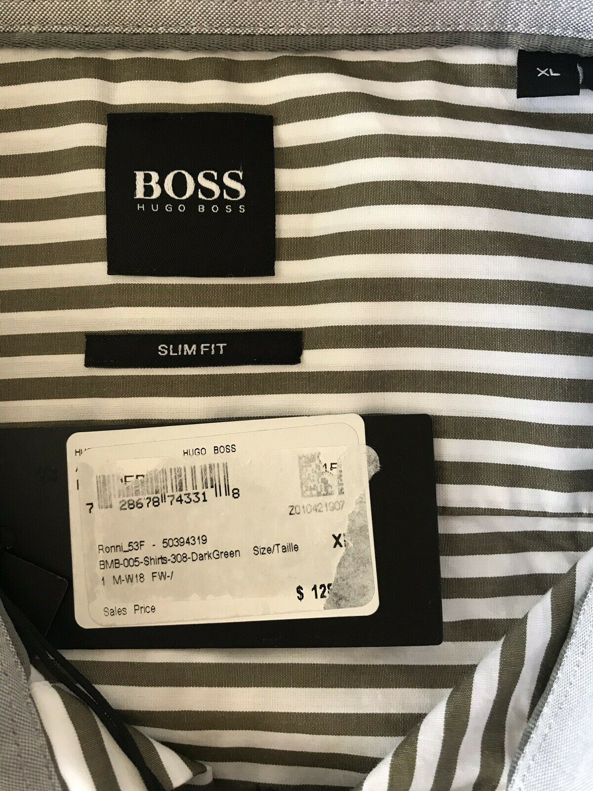 NWT $128 Hugo Boss Ronni Men's Slim Fit Cotton Dark Green Dress Shirt Size XL