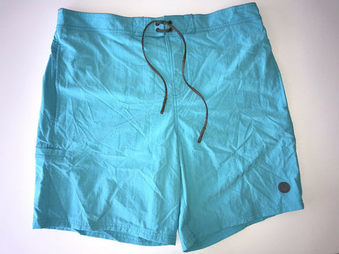 NWT $295 Armani Collezioni Men's Beachwear Logo Long Shorts Boxer Turquoise 2XL