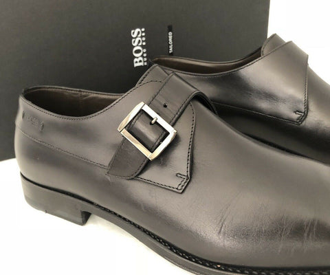 NIB $645 Boss Hugo Boss T-Legendio Tailored Mens Black Leather Shoes 12 US Italy