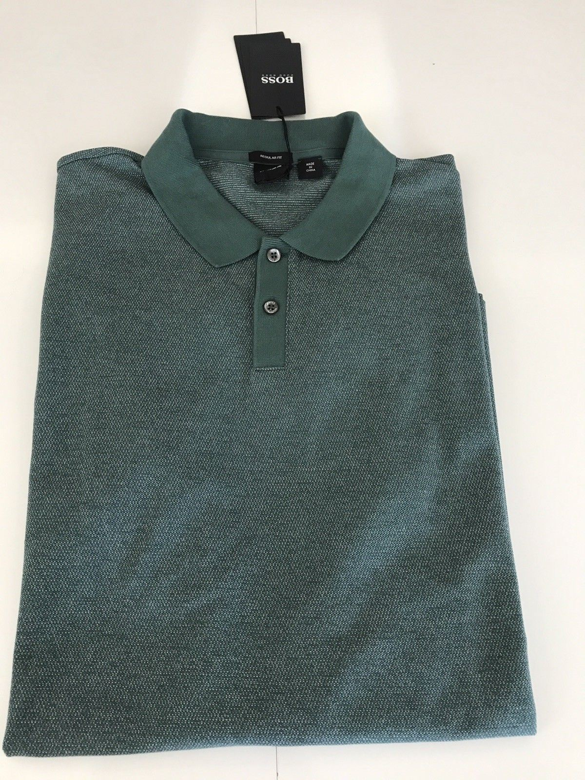 NWT $118 BOSS Hugo Boss Regular Fit Polo Shirt 2XL Green
