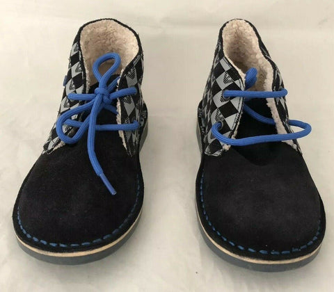 NWT $260 Armani Junior boys Navy Desert Boots Shoes 32 Eu (1 US) Portugal