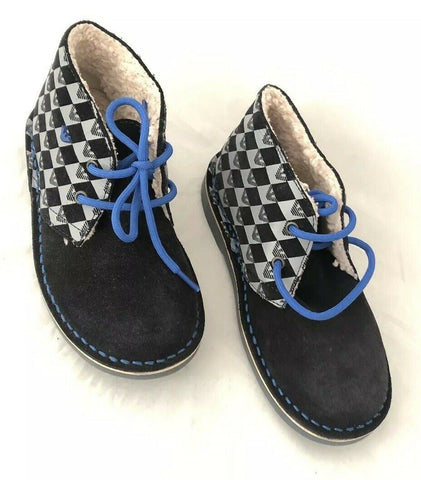 NWT $260 Armani Junior boys Navy Desert Boots Shoes 33 Eu (2 US) Portugal