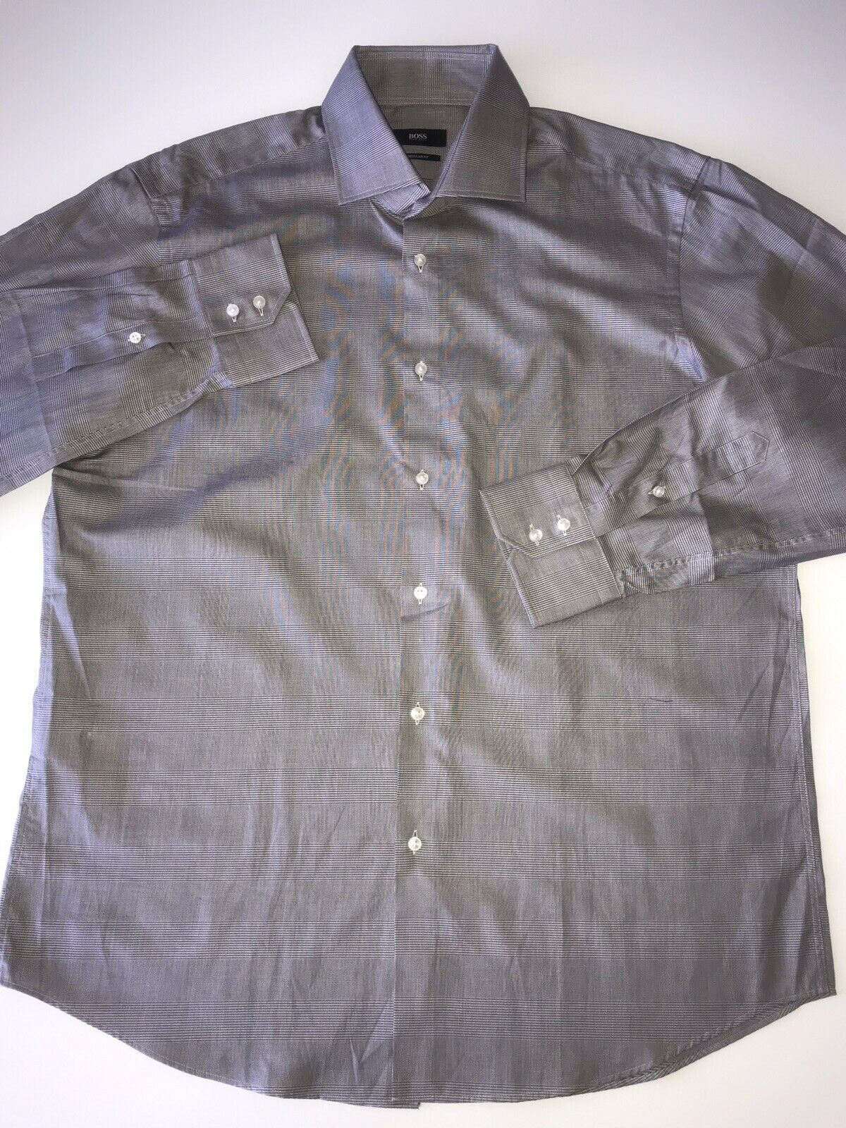 NWT $175 Hugo Boss Mens Gerald Regular Fit Dark Brown Dress Shirt Size 43/17