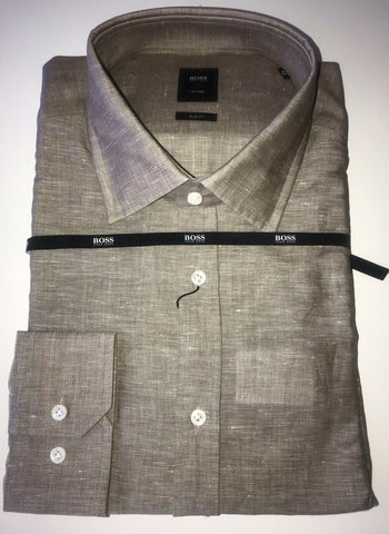 NWT $285 Hugo Boss Mens T-Shane Slim Fit Tailored Linen Dress Shirt Size 43/17