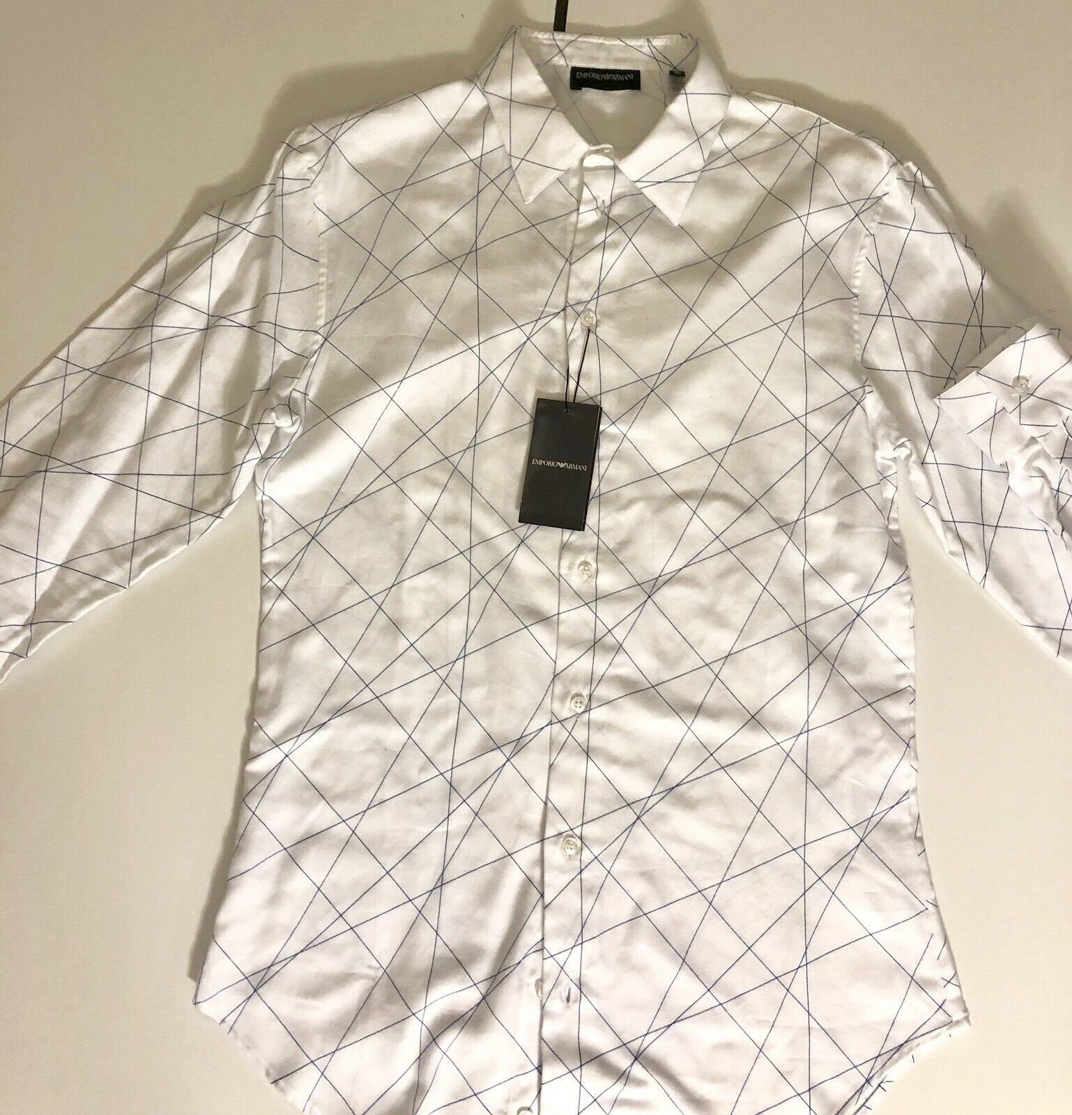 NWT $395 Emporio Armani Cotton White Dress Shirt Size 39 Eu Z1CF2T