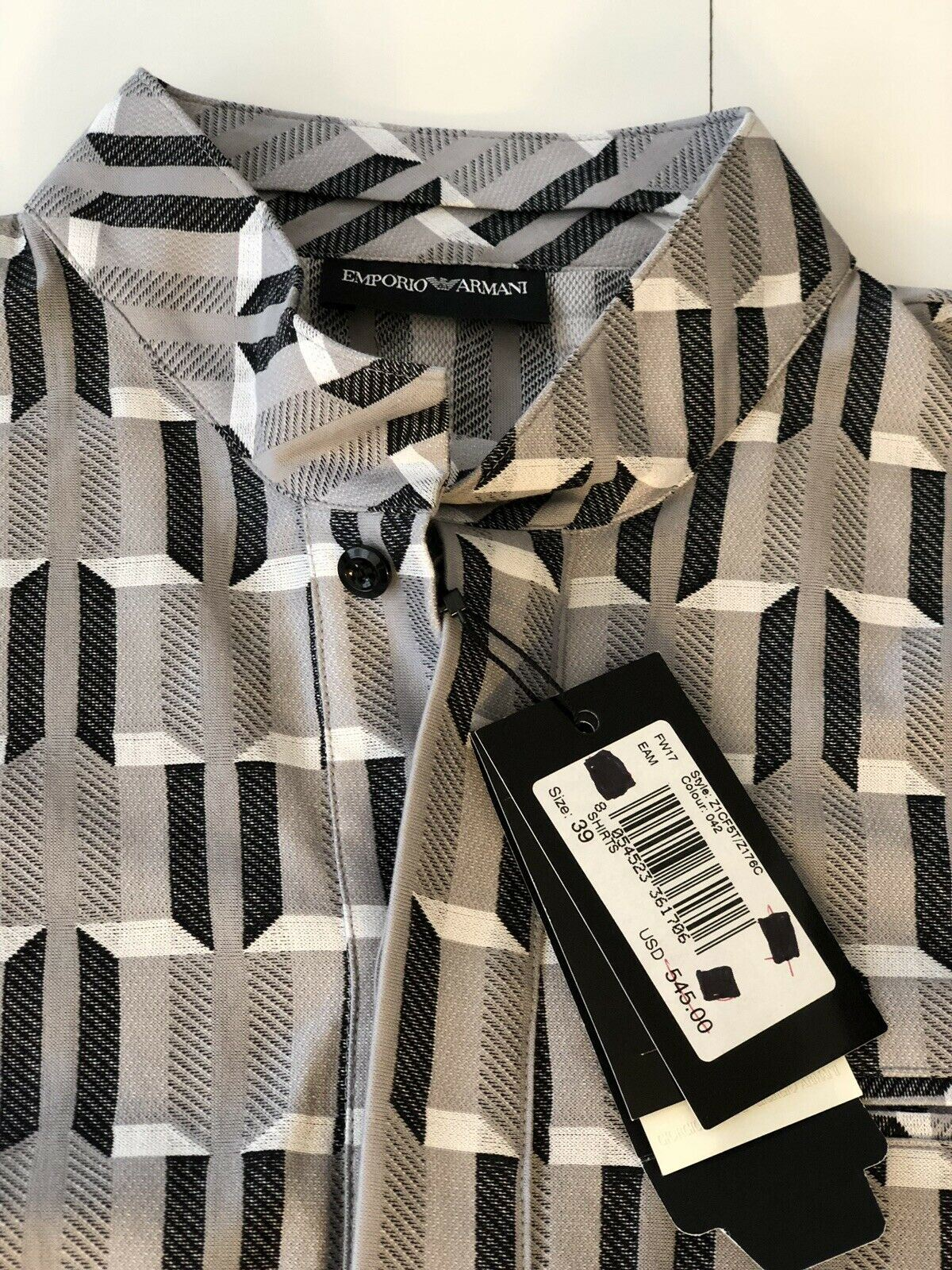 NWT Emperio Armani Mens Dress Shirt US 39 Style Z1CF5T/Z176C Color 042 $545
