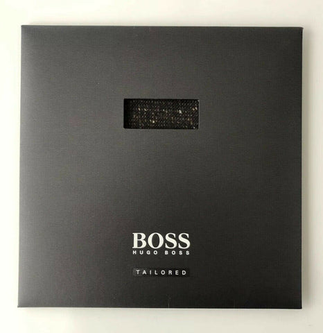 NIB HUGO BOSS Tailored Dark Brown T-Pocket Square 100% Wool Made in Italy