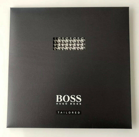 NIB HUGO BOSS Tailored Gray T-Pocket Square Silk/Cotton Made in Italy