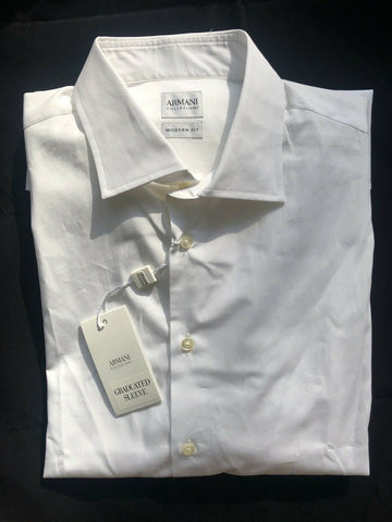 NWT $275 Armani Collezioni Modern Fit Graduated Sleeve Mens White Dress Shirt 16