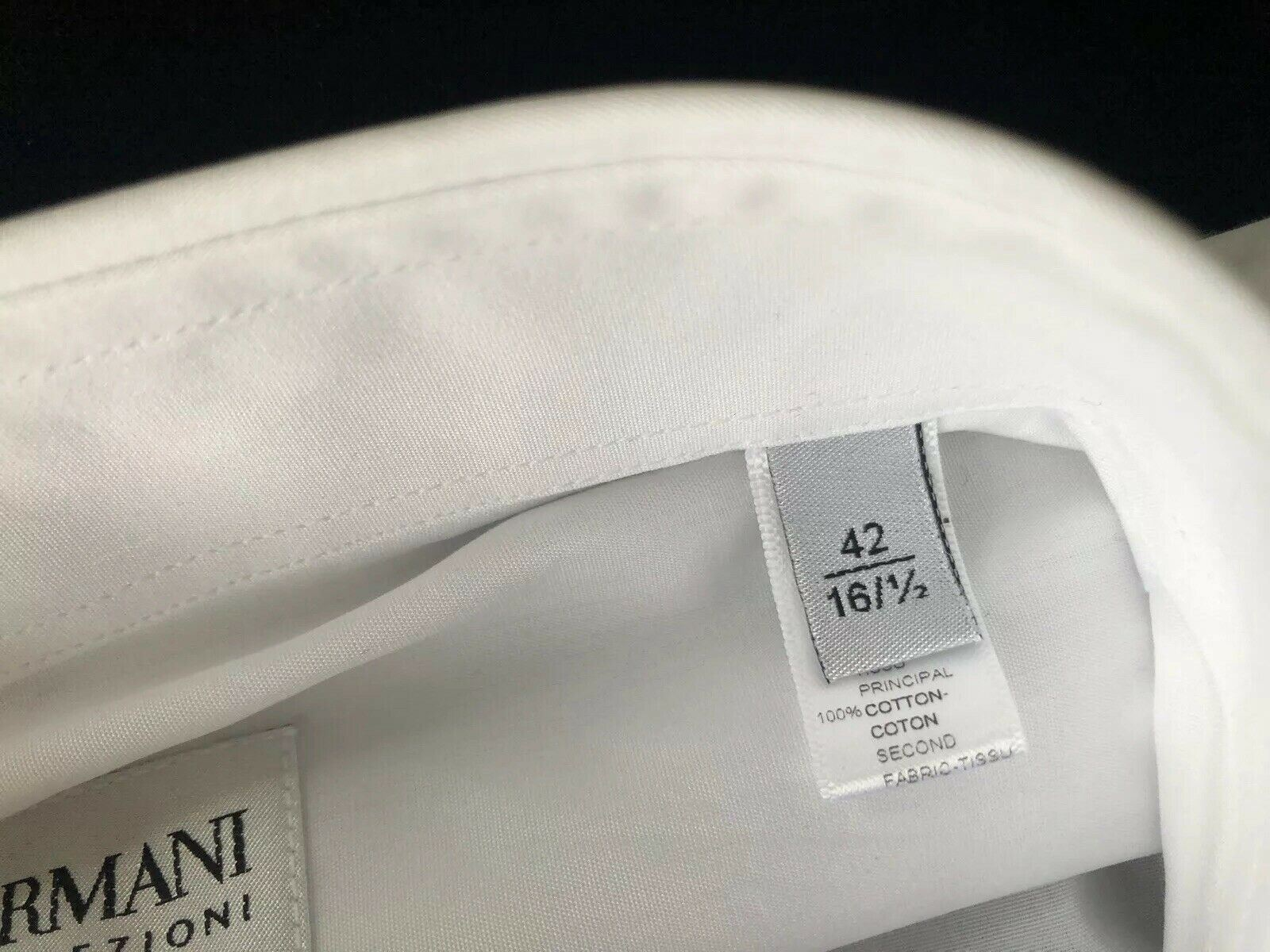 NWT $325 Armani Collezioni Camicia Mens White Dress Shirt 42/16.5