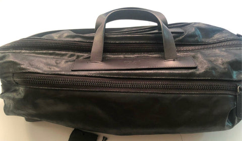New $3895 Giorgio Armani Mens Calf Leather Travel Bag Black Made in Italy YKP2J
