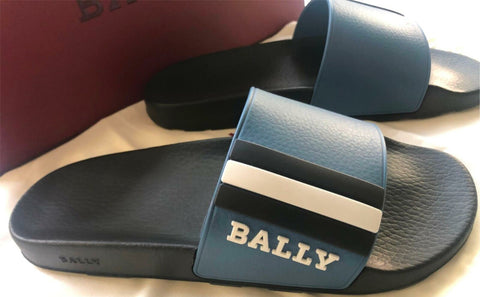 New Bally Saxor Leather Mens Rubber Blue Sandal 8 US Made in Italy