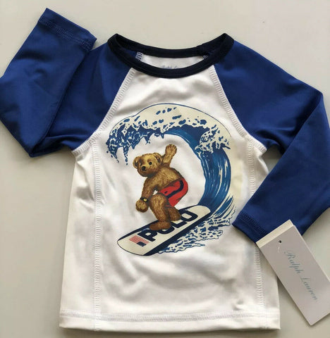 NWT $35 Polo Ralph Lauren Baby Boys Surfer Bear Rash Guard 3M