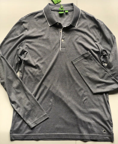 NWT $145 BOSS Hugo Boss C-Prato Long Sleeve Soft Cotton Polo Shirt Size XL