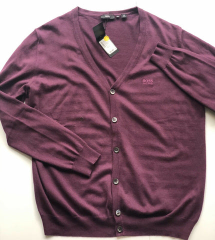 NWT $165 BOSS Hugo Boss Men's Cardigan Dark Purple Cotton/ Wool Sweater 2XL