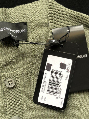NWT $545 Emporio  Armani Men's Crewneck 100% Wool Sweater Green Size L Italy