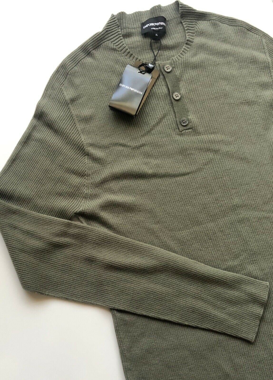 NWT $545 Emporio  Armani Men's Crewneck 100% Wool Sweater Green Size XL Italy