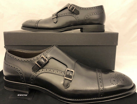 NIB $695 Boss Hugo Boss T-Leopold Tailored Mens Black Leather Shoes 10 US Italy