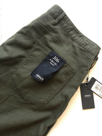 NWT $220 Armani JEANS Mens Slim Fit Green Soft Cotton Jeans Size 38/32 US 6Y6J06