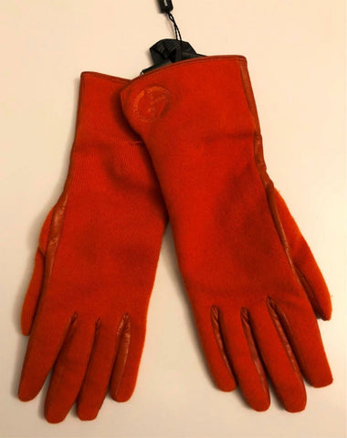 NWT $845 Giorgio Armani Women's Leather/Cashmere Gloves Orang Size L Italy