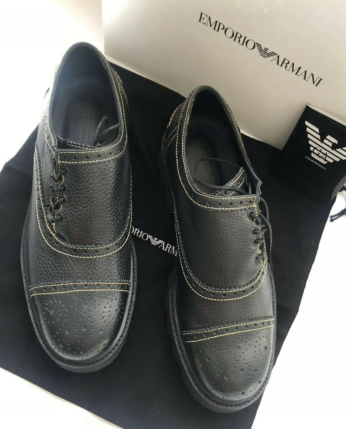 NIB $595 Emporio Armani Leather Men's Lug Sole French Laced Shoes 10.5 US X4C455