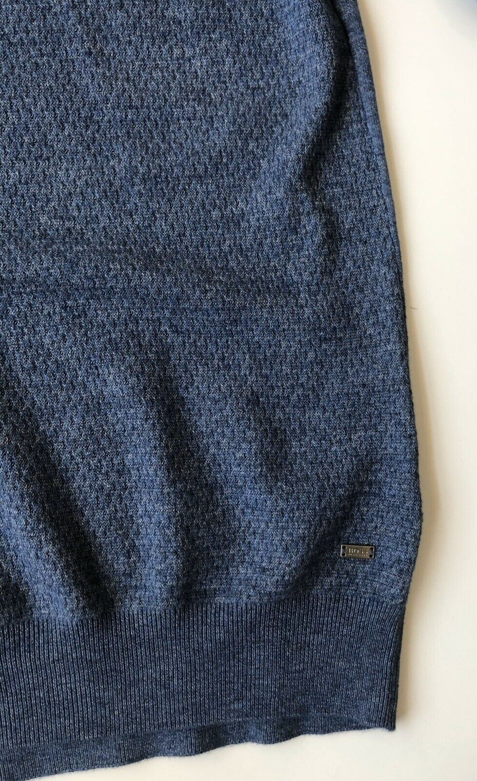 New $185 BOSS Hugo Boss Udrano Men's V-Neck Bright Blue Sweater XL Cotton