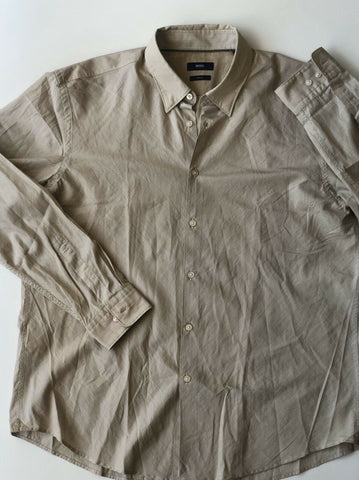 New Hugo Boss Mens Slim Fit Brown Striped Soft Dress Shirt Size 3XL