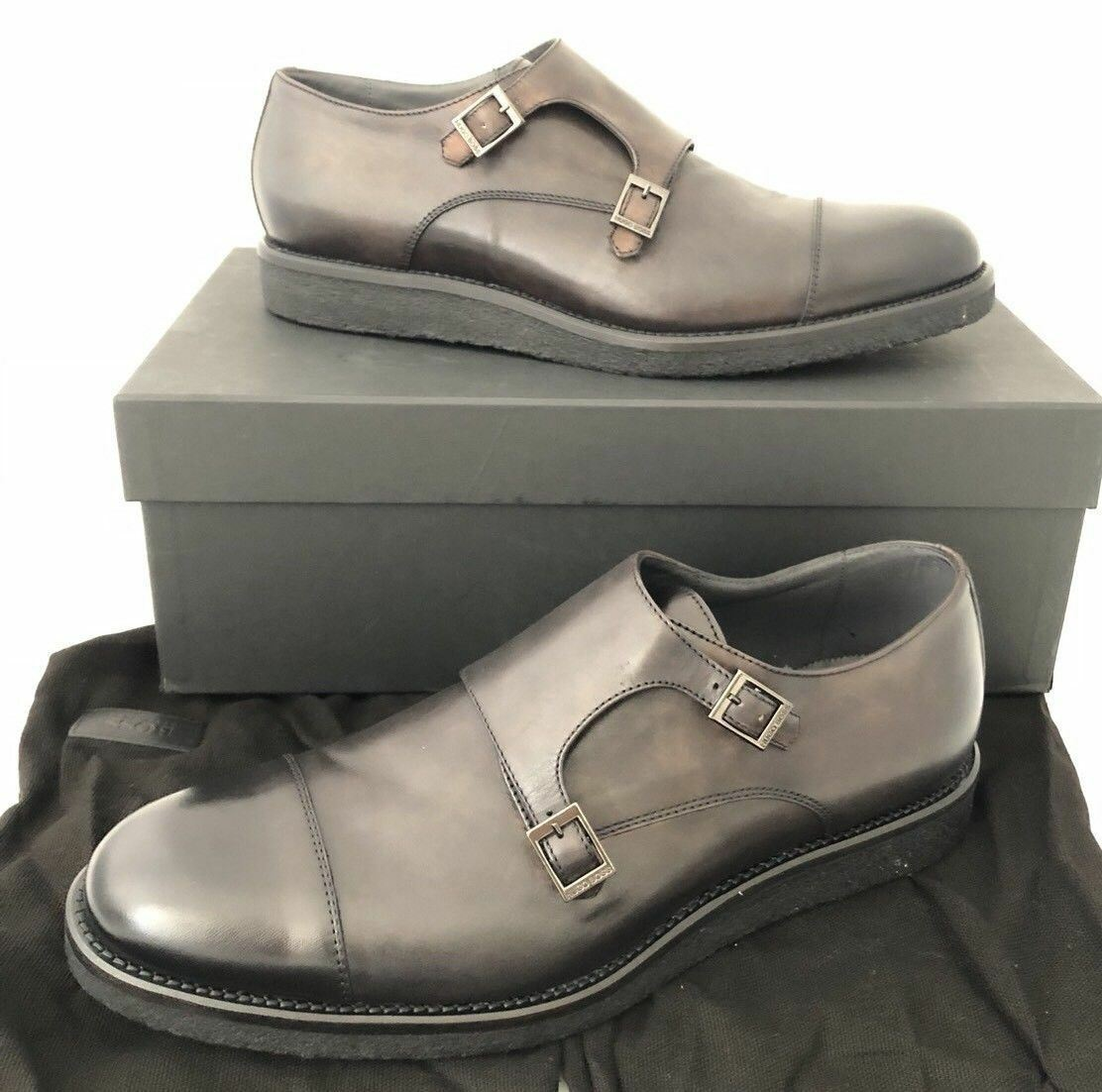 NIB $495 Boss Hugo Boss Aspio Mens Dark Gray Leather Shoes 10 US Italy 50298471