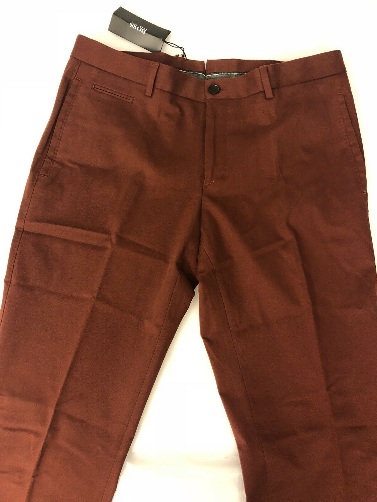 $295 Boss Hugo Boss 1-Glenden Modern Mens Dark Red Dress Pants Size 36 US