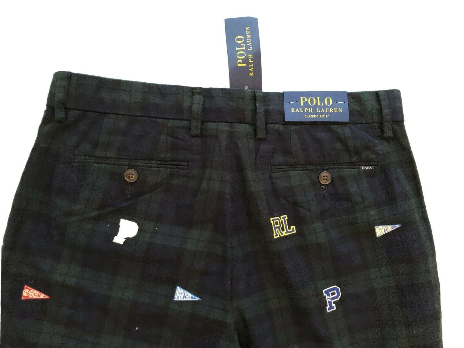 NWT $69 POLO Ralph Lauren Men's Green/Blue Classic Fit Shorts Size 30