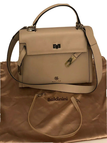 NWT BALDININI Borsa Donna Bulgaro Leather Beige Handbag Made In Italy 770014