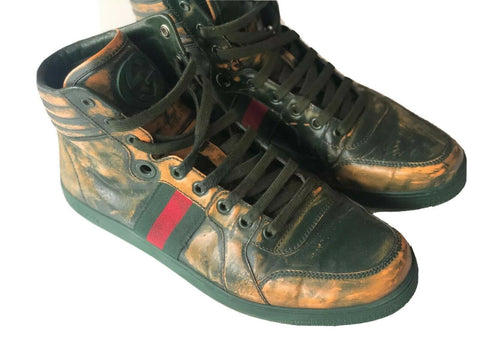 Gucci Men's Leather Green Brush Coda High Top Wen Sneakers 9G (9.5 US) 343093