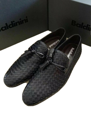 New $675 Baldinini Men's Leather Loafers Shoes Dark Blue 10 US ( 43 Eu ) Italy