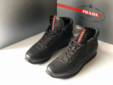 PRADA Men's Modern Leather High Top Sneakers 9.5 US 42.5 Euro 4T2782