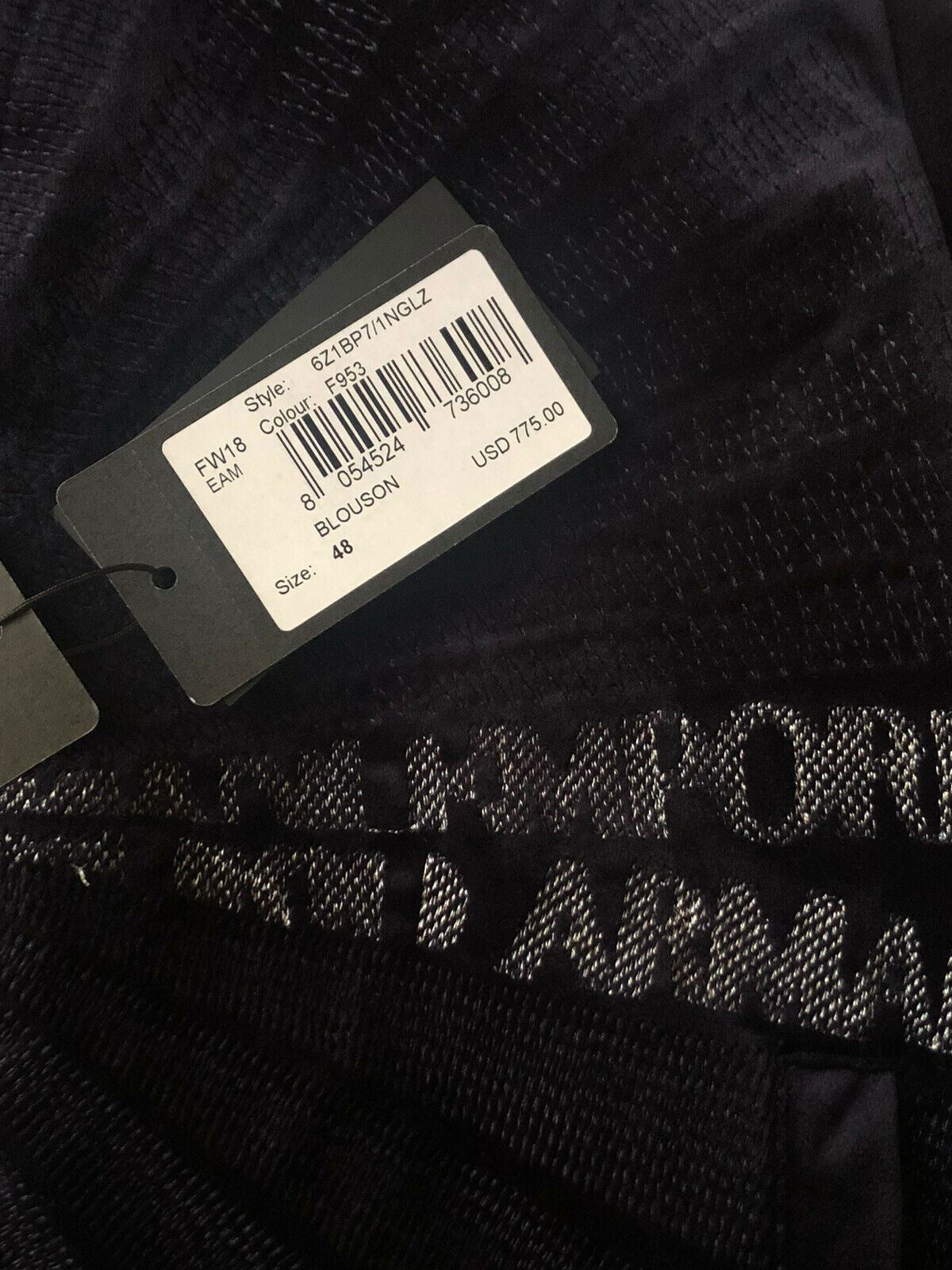 NWT $775 Emporio Armani Blouson 2 Sided Blue Jacket 38 US ( 48 Eur ) 6Z1BP7