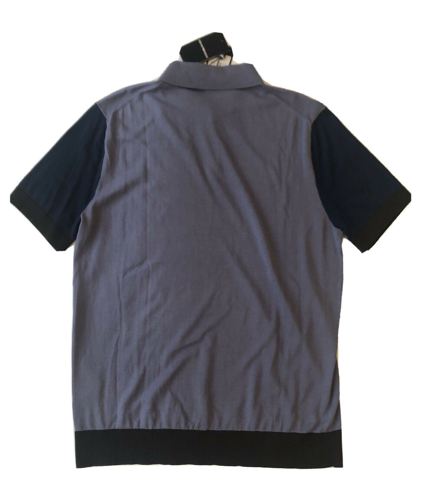NWT $275 Emporio Armani Short Sleeve Blue Cotton/Silk Polo Shirt 2XL 3Z1MXD
