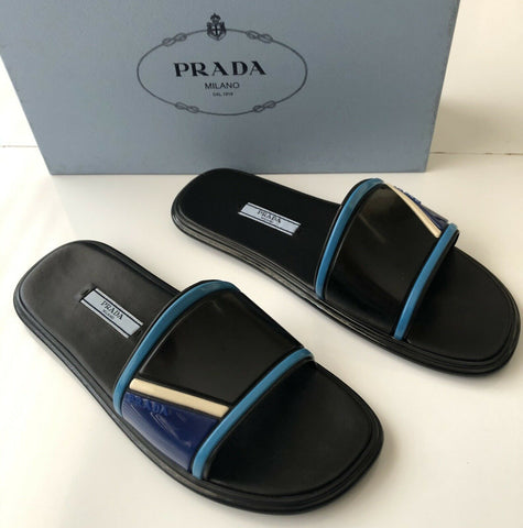 NIB $660 PRADA Milano Women's Black Rubber Sandals 7.5 US 1XX344 Made in Italy