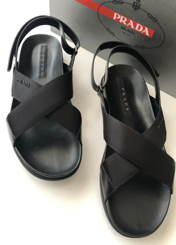 NIB $600 Prada Milano Cross Strap Mens Sandal Shoes Black 9 US 4X3209