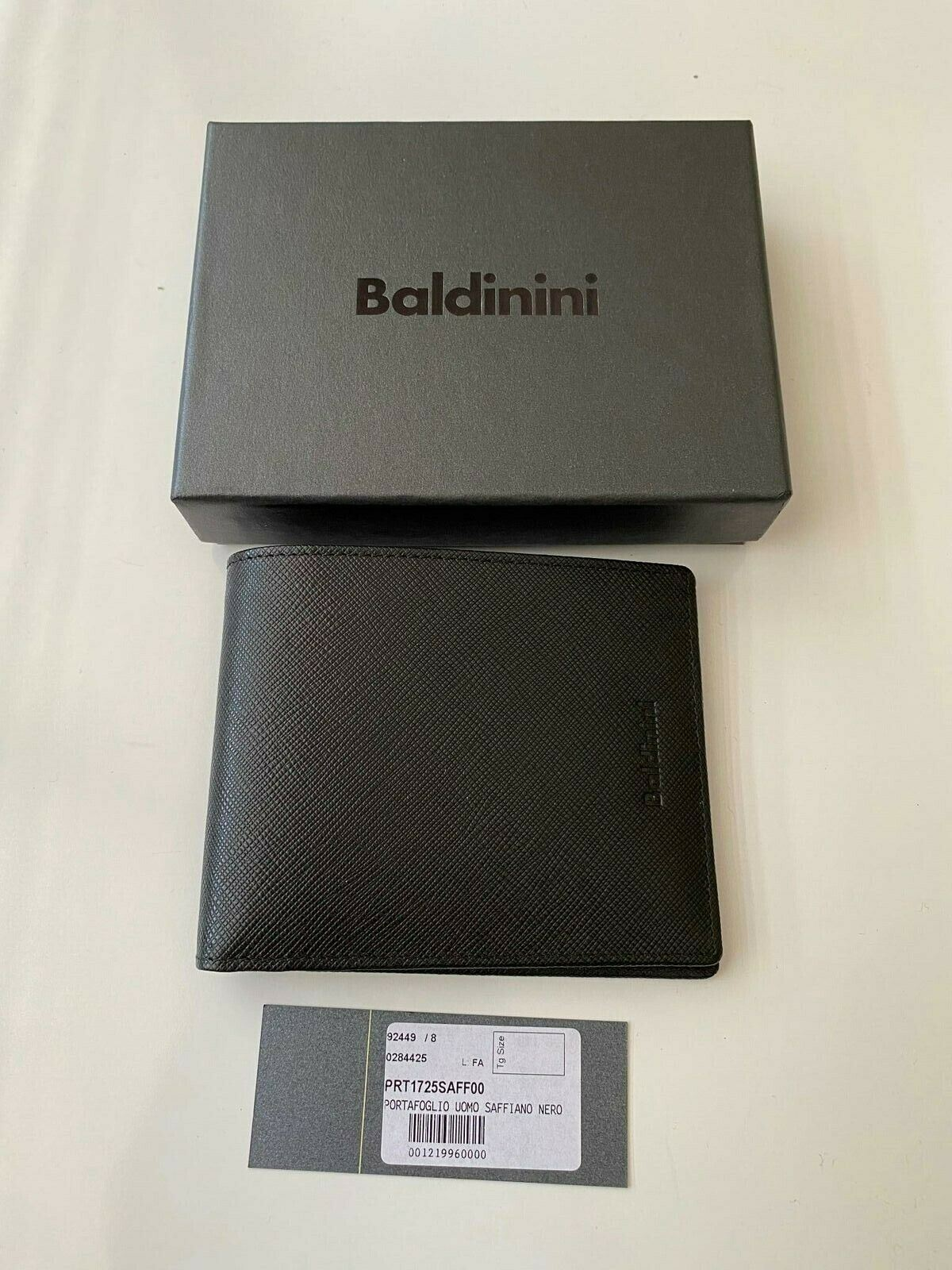 NIB Baldinini Mens Saffiano Leather Wallet Black PRT1725SAFF00 Italy
