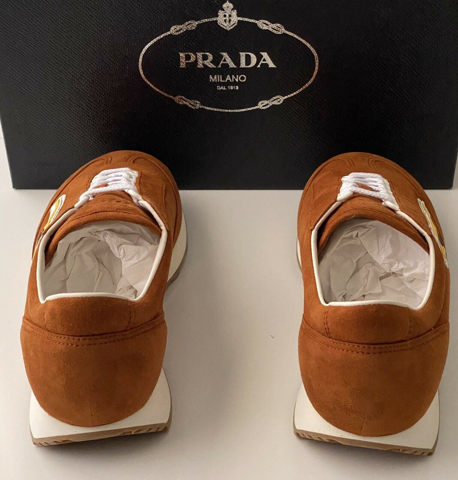 NIB $810 PRADA Men's Brown  Suede/Leather Sneakers 11 US 2EG286 Made in Italy
