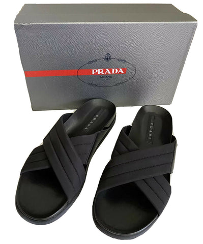 NIB $670 Prada Milano Cross Strap Mens Leather Sandal Shoes Black 9 US 4X3411