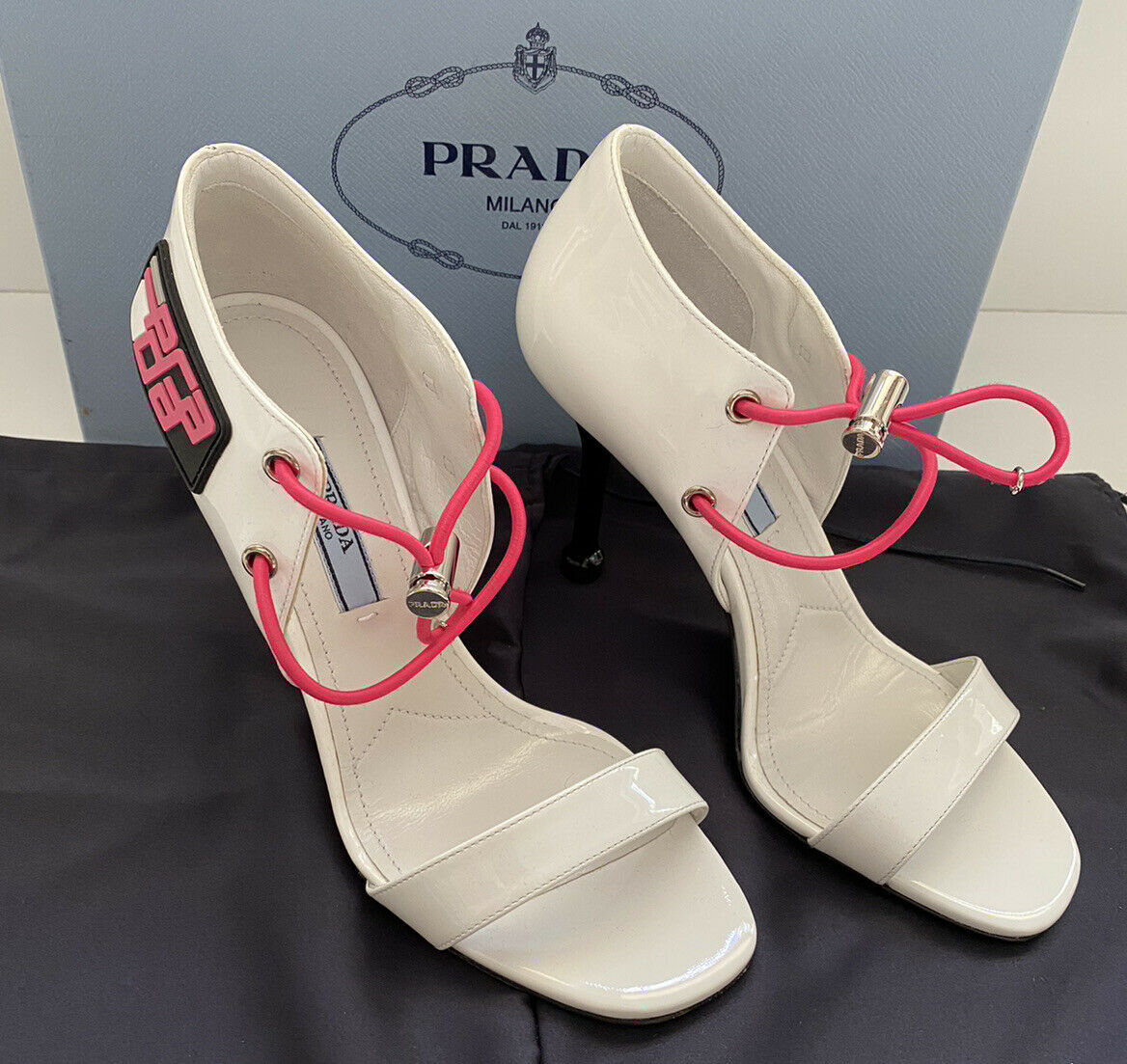 NIB $950 Prada MILANO Women's High Heel Leather White Shoes 6 US 1X130L Italy
